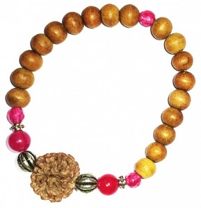 RUDRAKSHA STRUNG ON BRACELET WITH GEM STONES AND SANDALWOOD BEADS