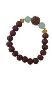 RUDRAKSHA STRUNG ON BRACELET WITH STONES AND REDSANDALWOOD BEADS