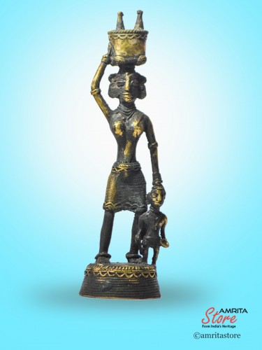 AmritaStore_Lady with Child and Head load Bronze_15_1.jpg